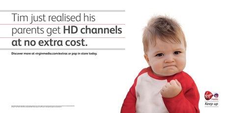 Success Kid in a Virgin Media ad