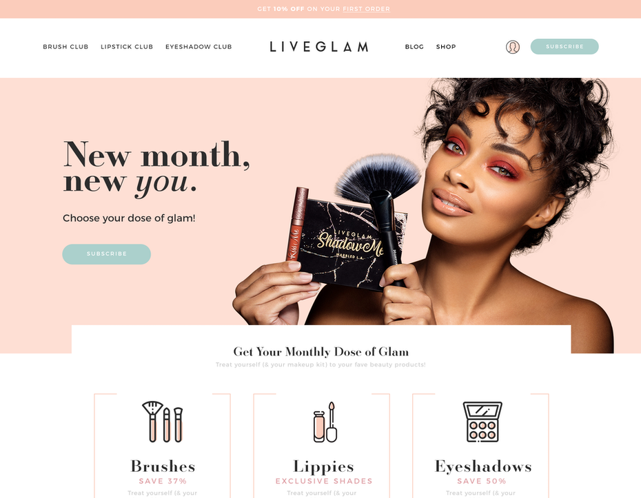 Beautiful modern cosmetics branding web design example