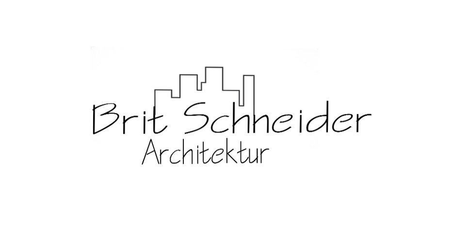 "Line drawing logo showing the name ""Brit Schneider Architektur"" below a city skyline"