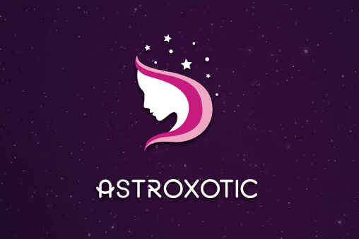 Geometric shape of a woman's head with pink hair and stars above her skull
