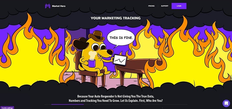 """This is fine"" dog design on a landing page"