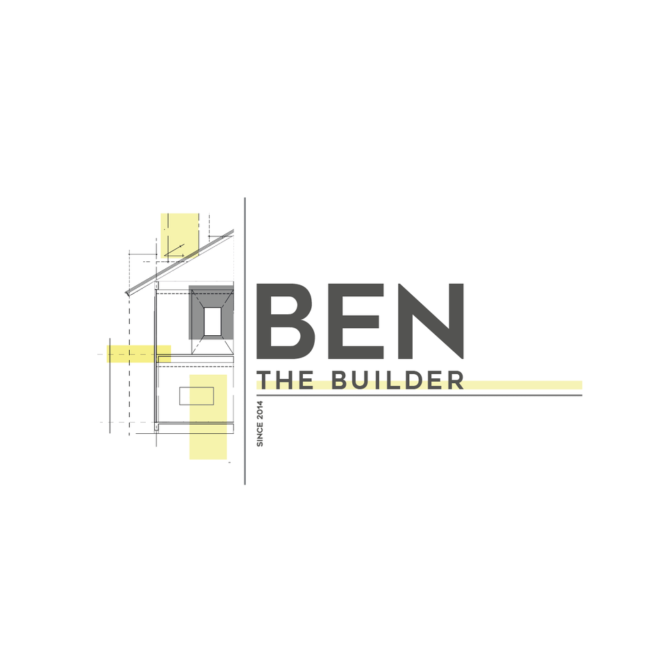 Yellow and gray logo with an image of a home under construction