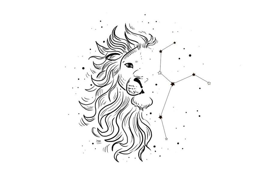 Bild eines halben Löwengesichtes und einer Sternenkonstellation auf der anderen Bildhälfte