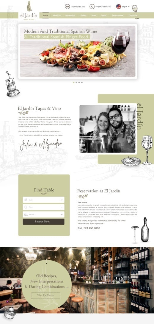 tapas restaurant web design