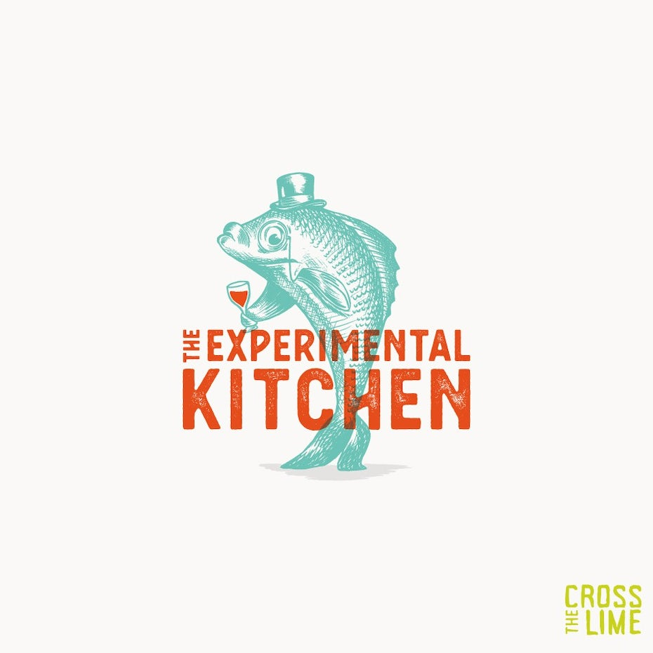 Illustrated neon fish logo