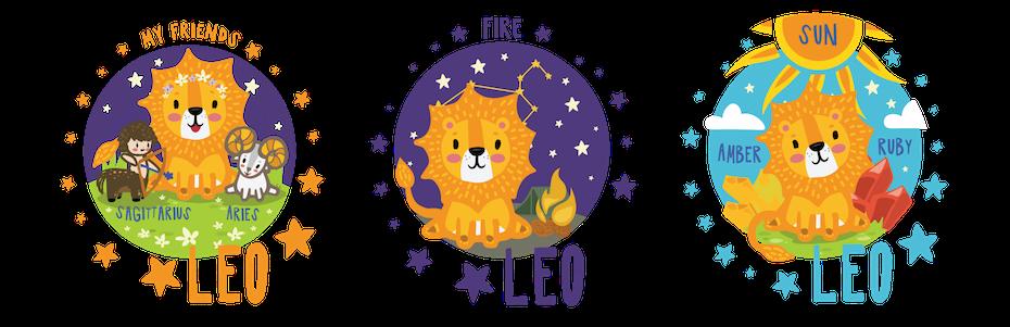 Kindliche Astrologie-Designs, die ein Löwenjunges mit verschiedenen Hintergründen und Umgebung zeigen