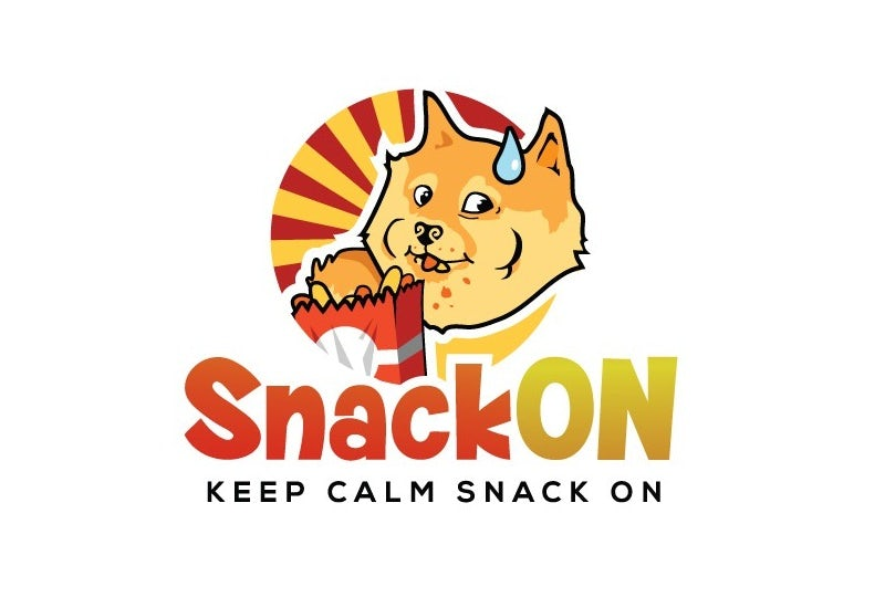 Round logo of a cartoon shiba inu eating snacks