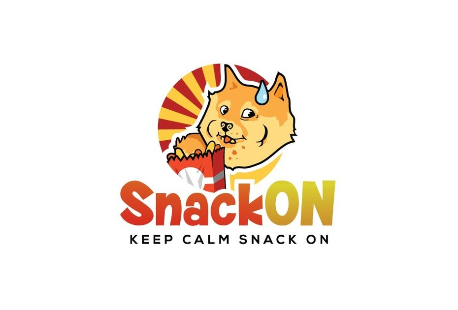 Round logo of a cartoon shiba inu eating snacks