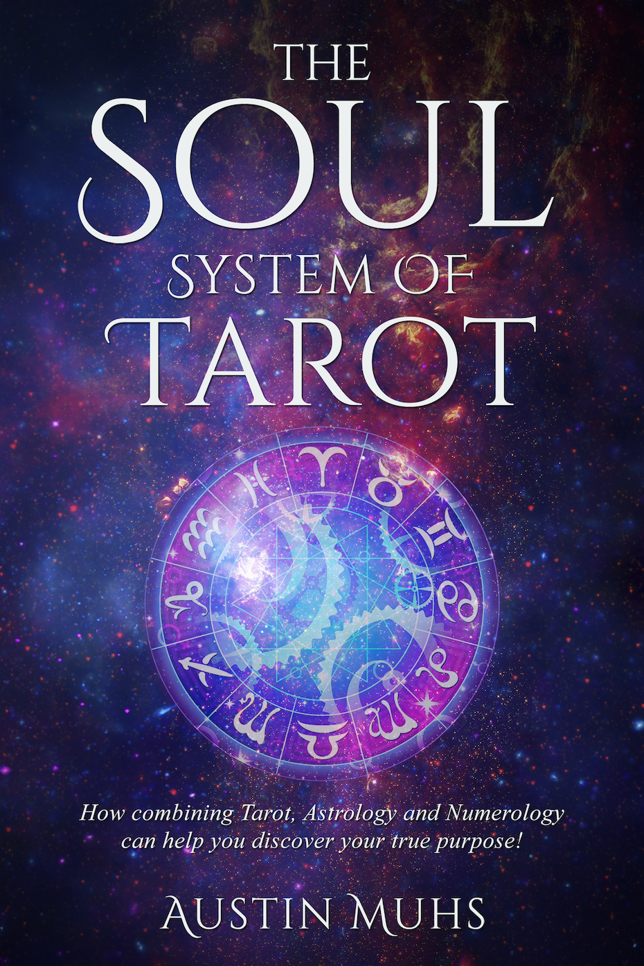 Blue, purple and pink book cover showing the wheel of the zodiac