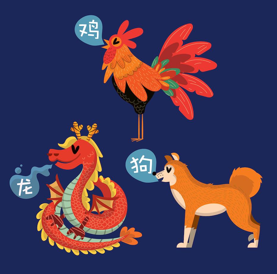 Illustrationen eines Hundes, eines Hahns und eines Drachen