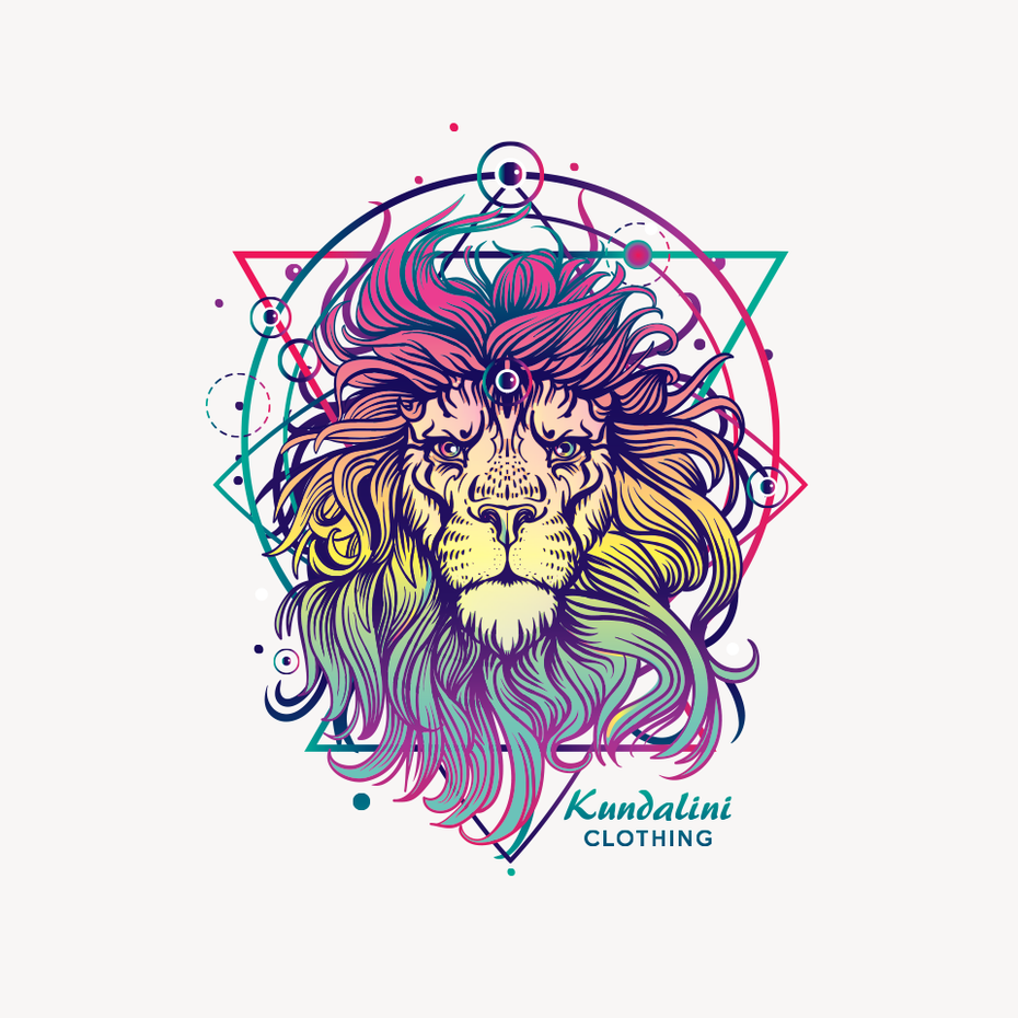 Multicolored lion against a geometric background