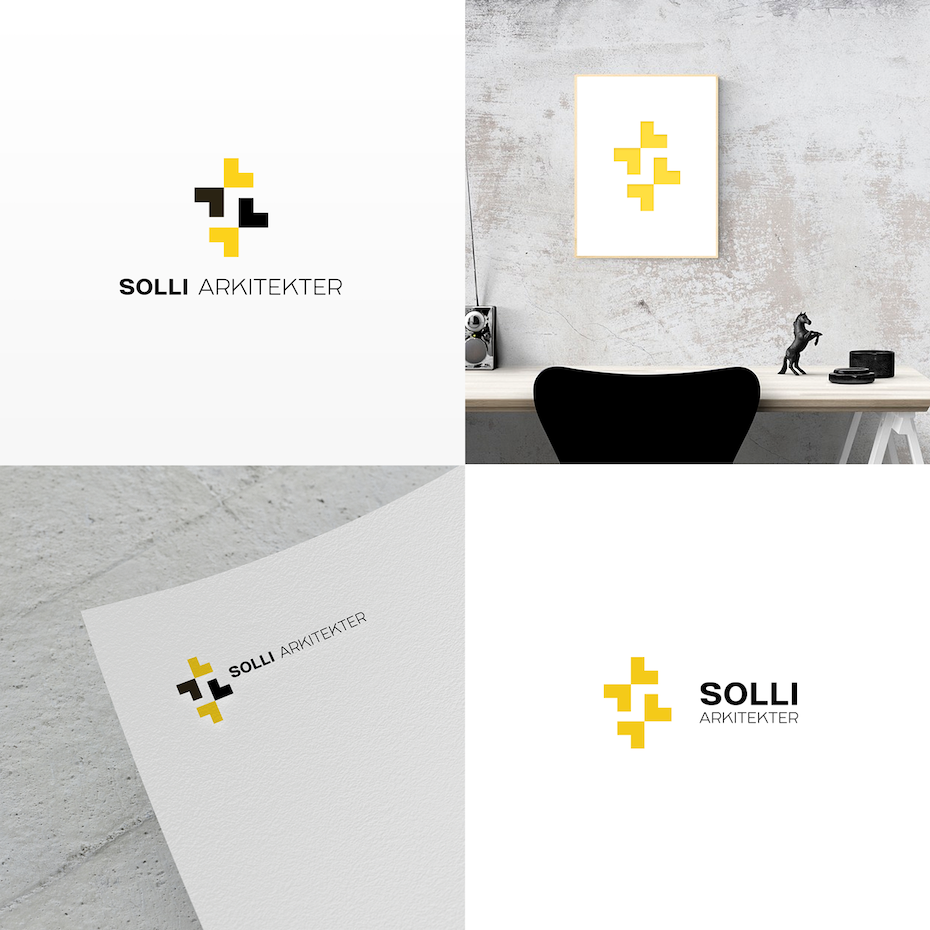 Four instances of a black and yellow geometric logo