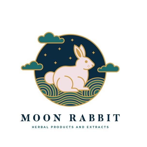 Circular logo showing a white rabbit against a blue moon background