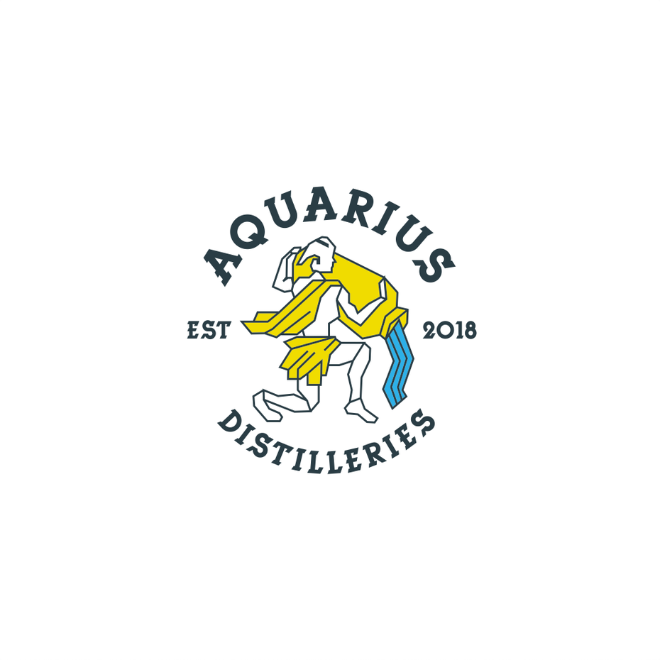 Geometric logo showing Aquarius in yellow pouring blue water
