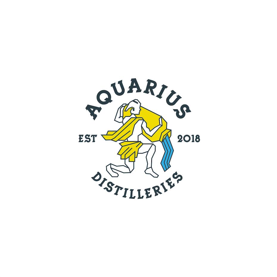 Geometric logo showing Aquarius in yellow pouring blue water