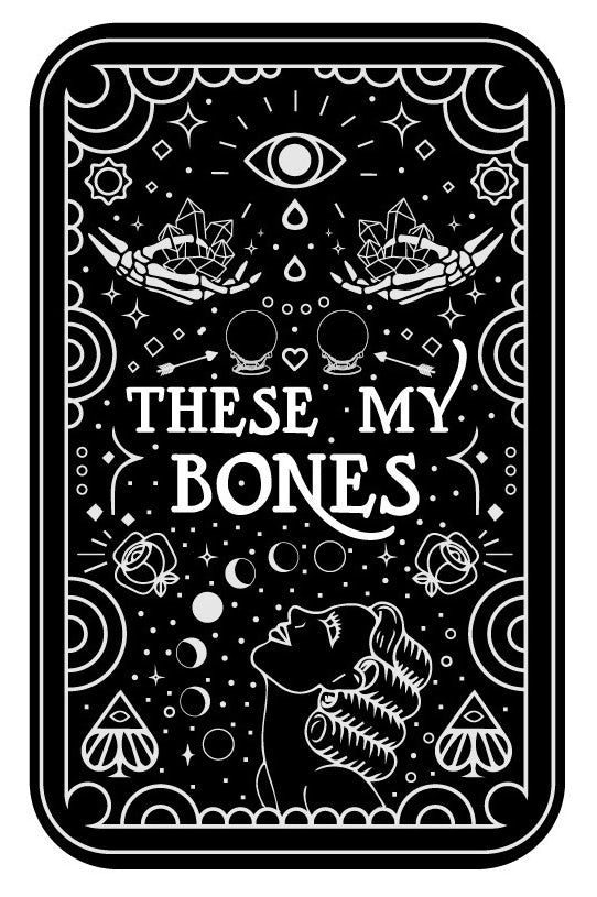 Black tarot card depicting a variety of mystic things in white geometric shapes