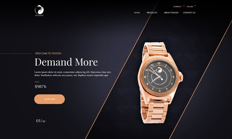 Dark theme Website design for luxury watch brand