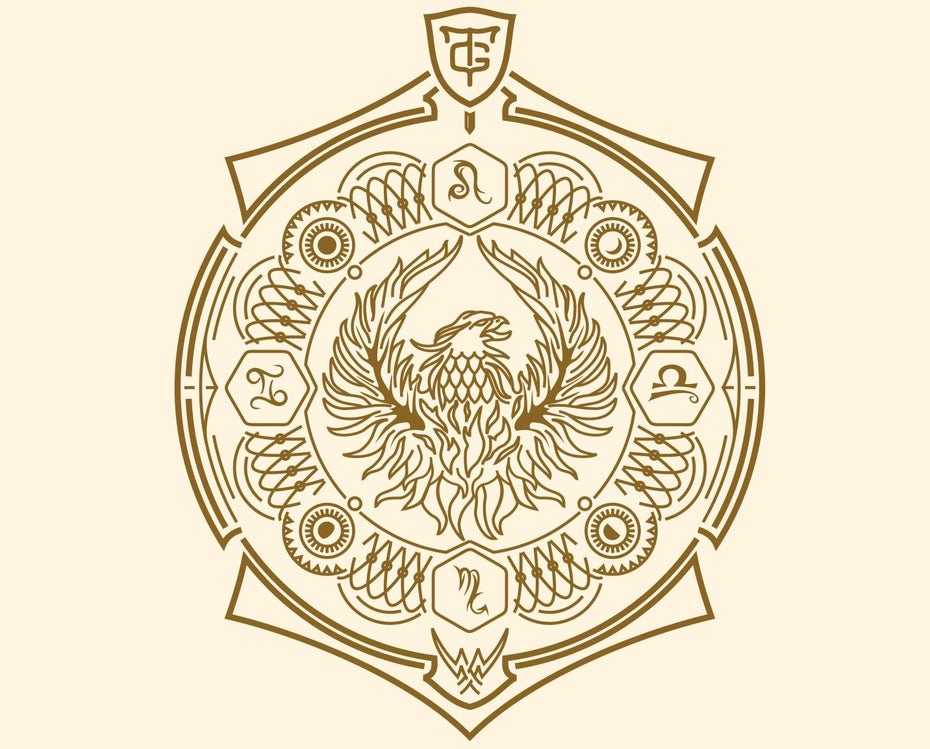 Gold geometric crest against a white background
