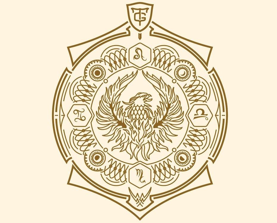 Gold geometrisches Wappen auf hellem Hintergrund