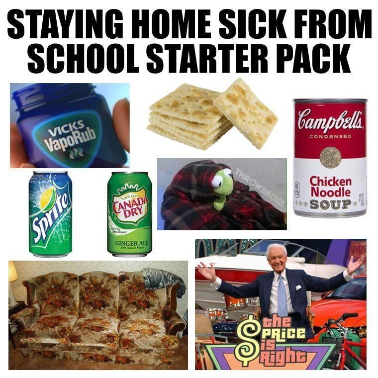 Starterpack showing items needed for a sick day at home
