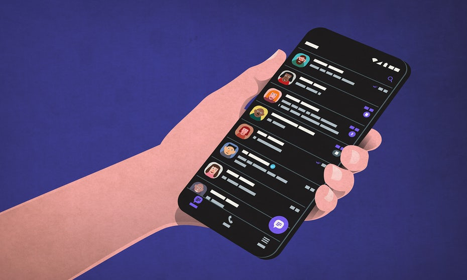 Illustration of Dark theme app design