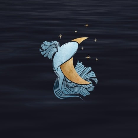 Blue fish against a gold crescent moon