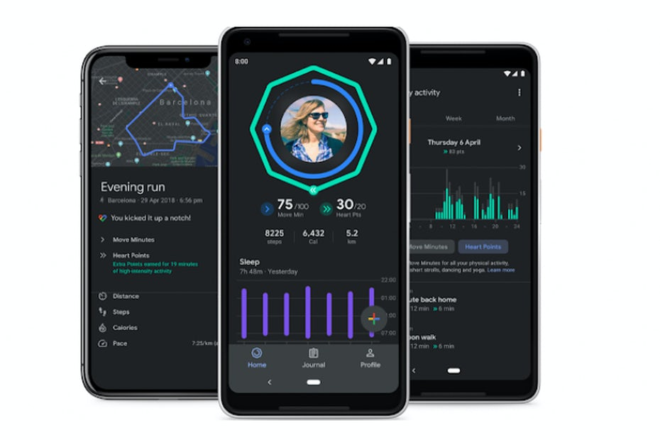 Google Fit dark mode UI