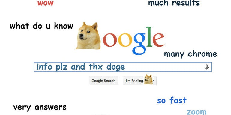Parody of the Google search page but with Doge