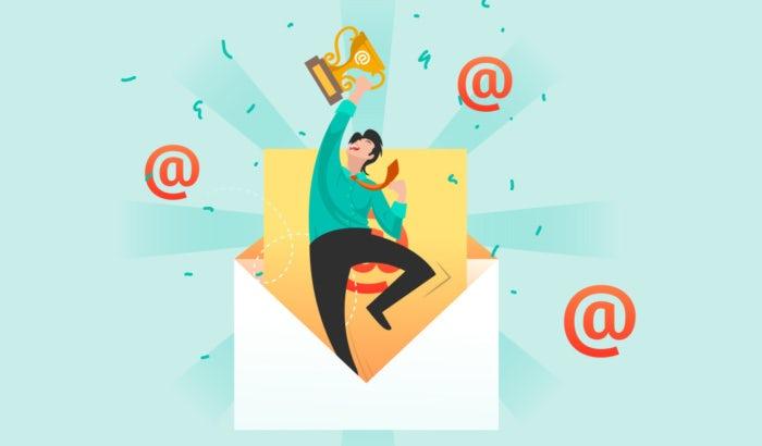 Illustration einer Person, die aus einem Newsletter herausspringt und eine Trophäe hält