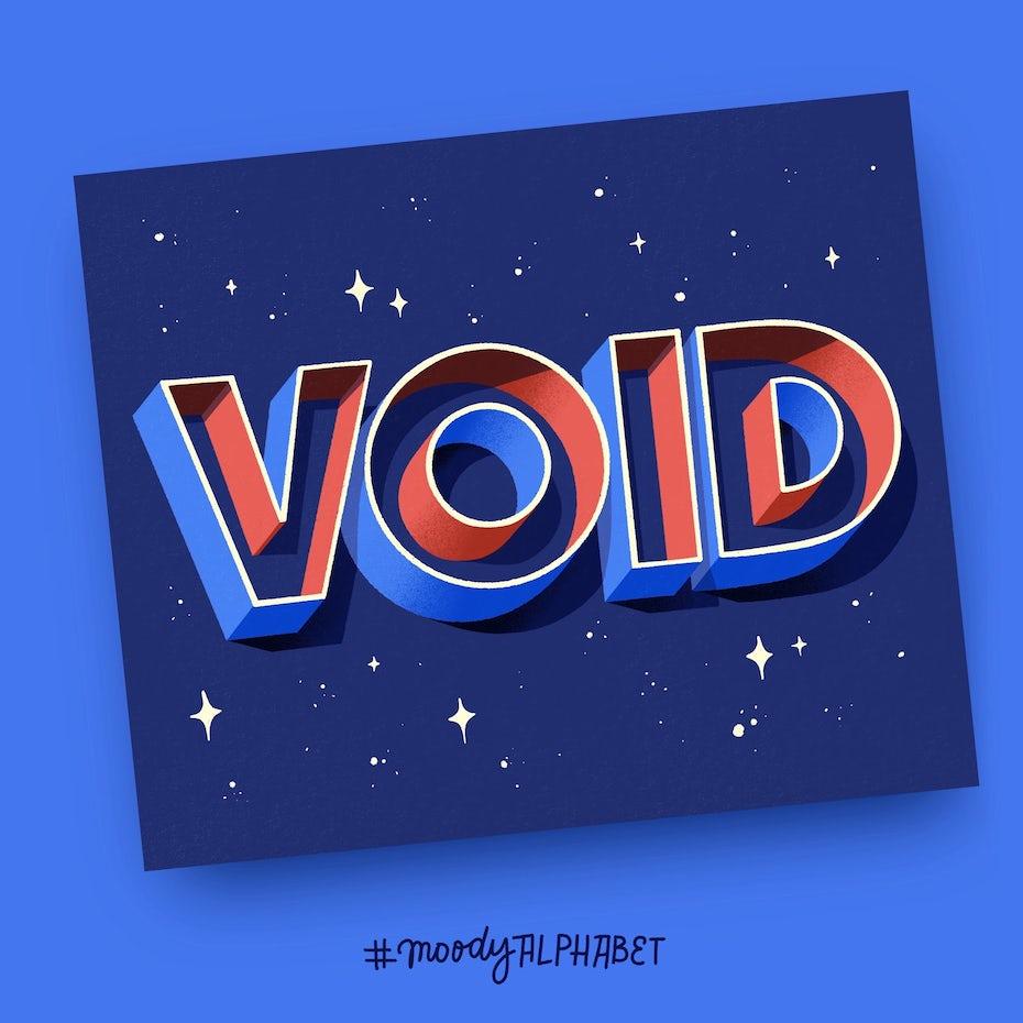 Void 3D lettering