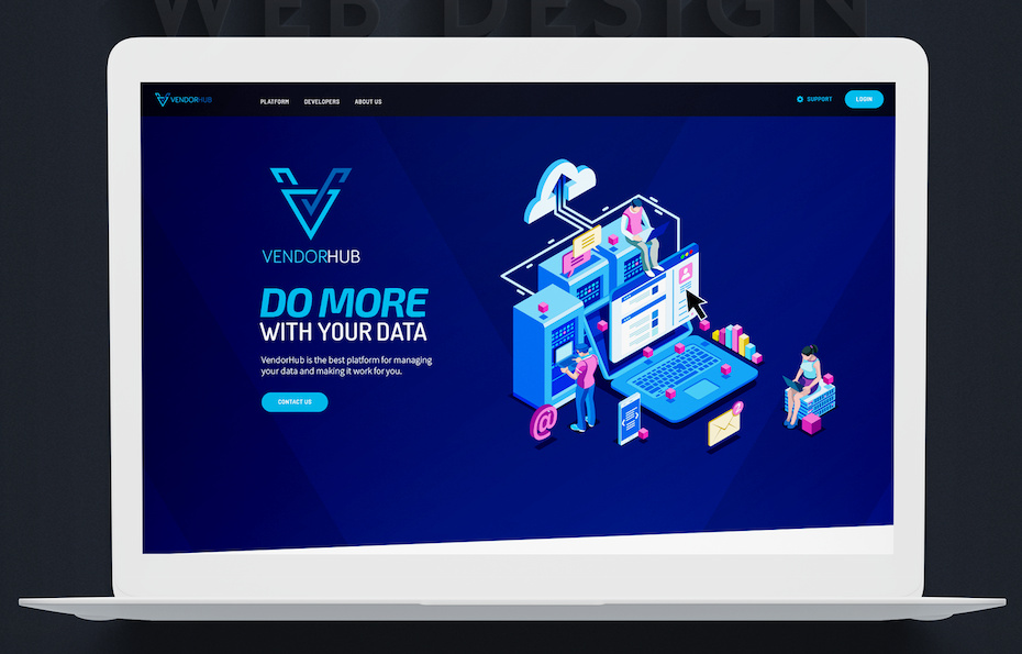 modern web design with custom isometric illustration of computer