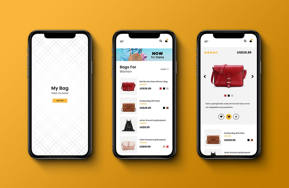 Design d'application mobile clair et moderne pour une marque de sacs