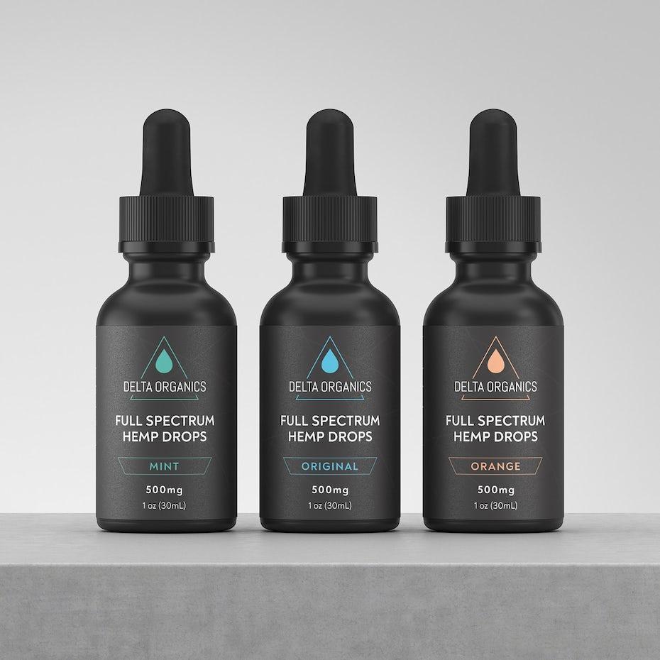 black cbd oil bottle design