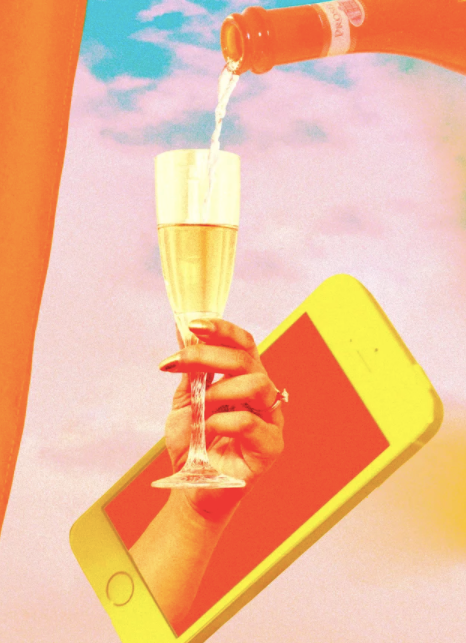 warm-toned collage design showing a woman's hand reaching out of an iphone screen, grasping a glass of champagne that's currently being filled