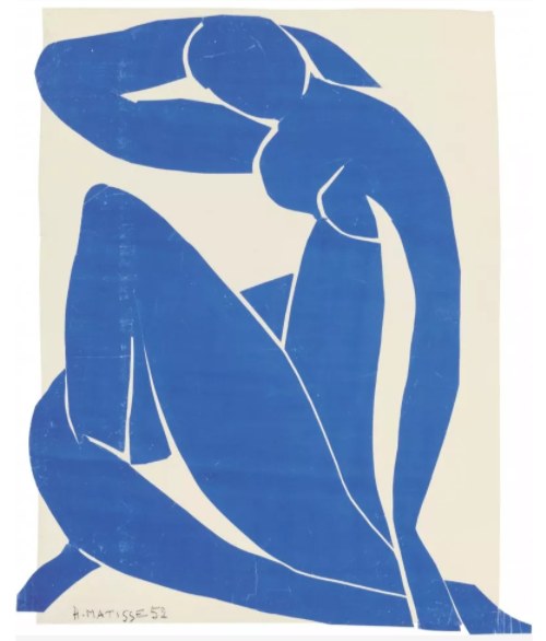 Collage design depicting the shape of a nude woman comprised of torn blue paper against a white background
