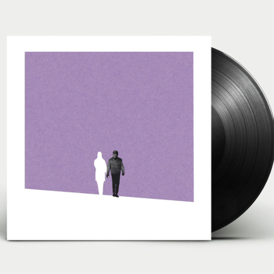 collage design on an album cover showing a figure holding hands with a white shape of another figure against a purple background
