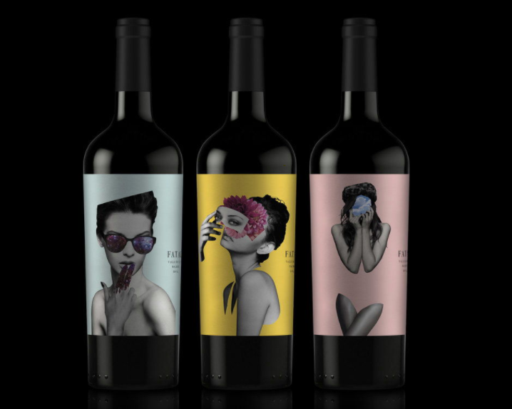 three wine bottles, each with a different collage design of a woman