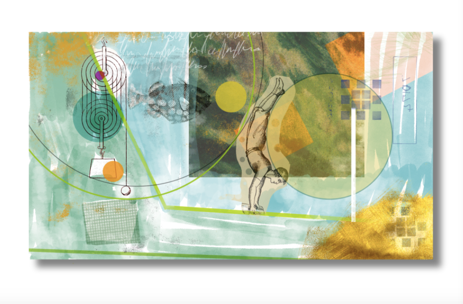 textured collage design showing a fish, a gymnast and a pulley system overlaid with different colors