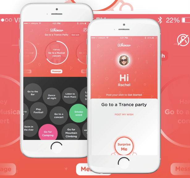 Whimzer app design