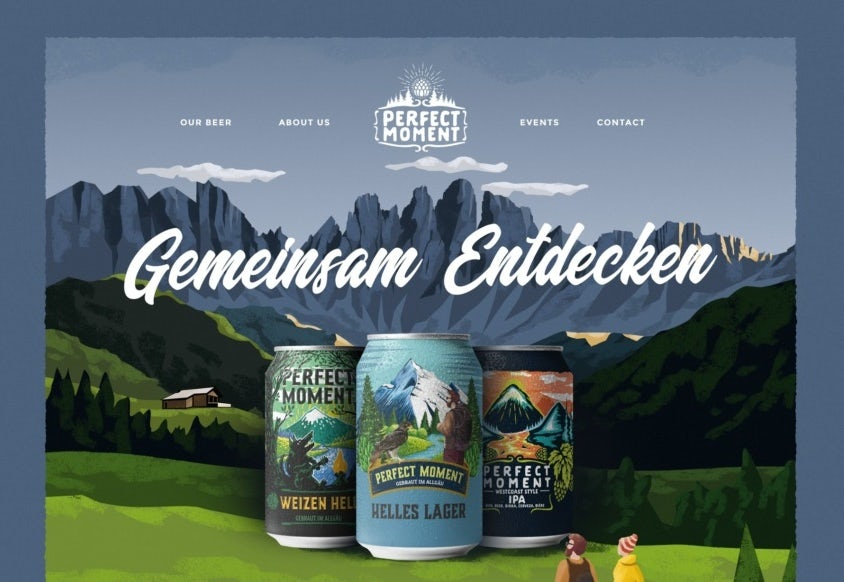 illustrated web design for craft beer