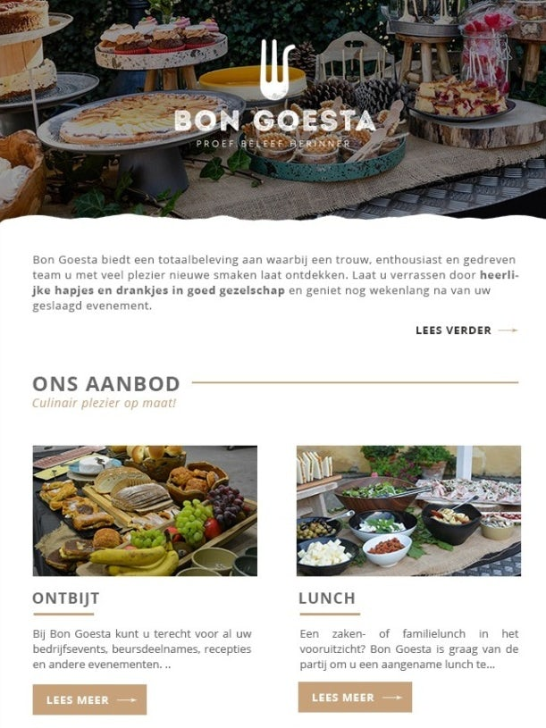 tan and white food-focused newsletter