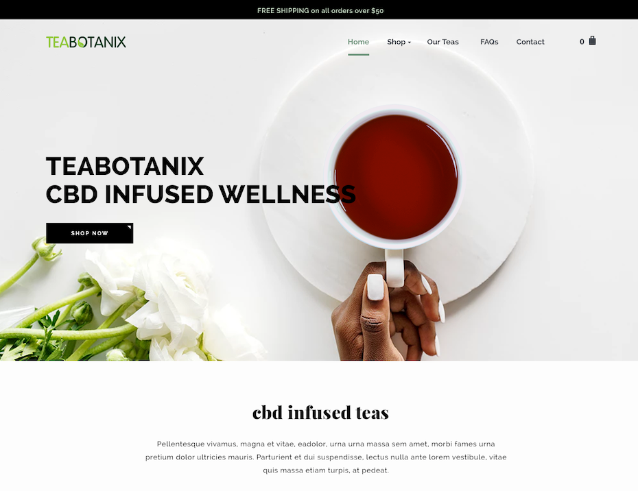 modern CBD tea web design