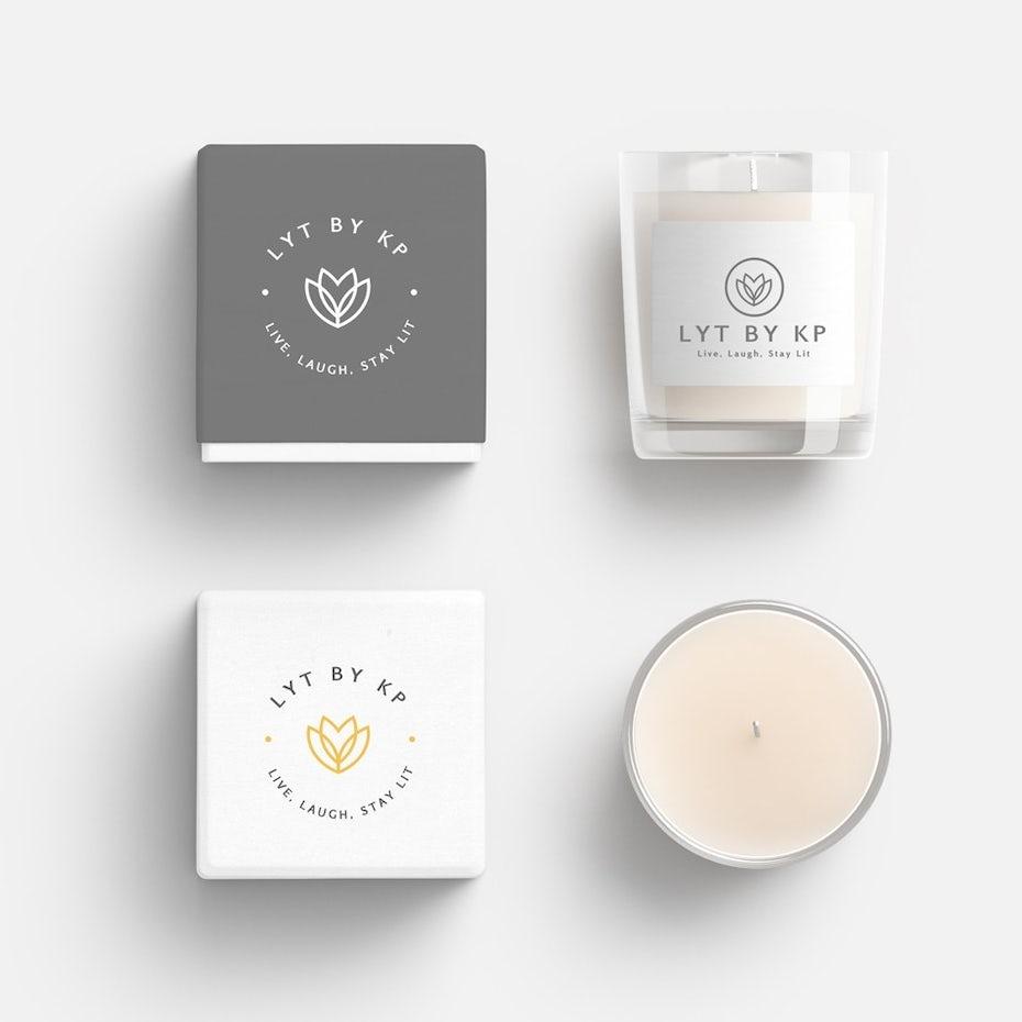 minimalistisches weißes CBD-Verpackungsdesign für eine Kerze