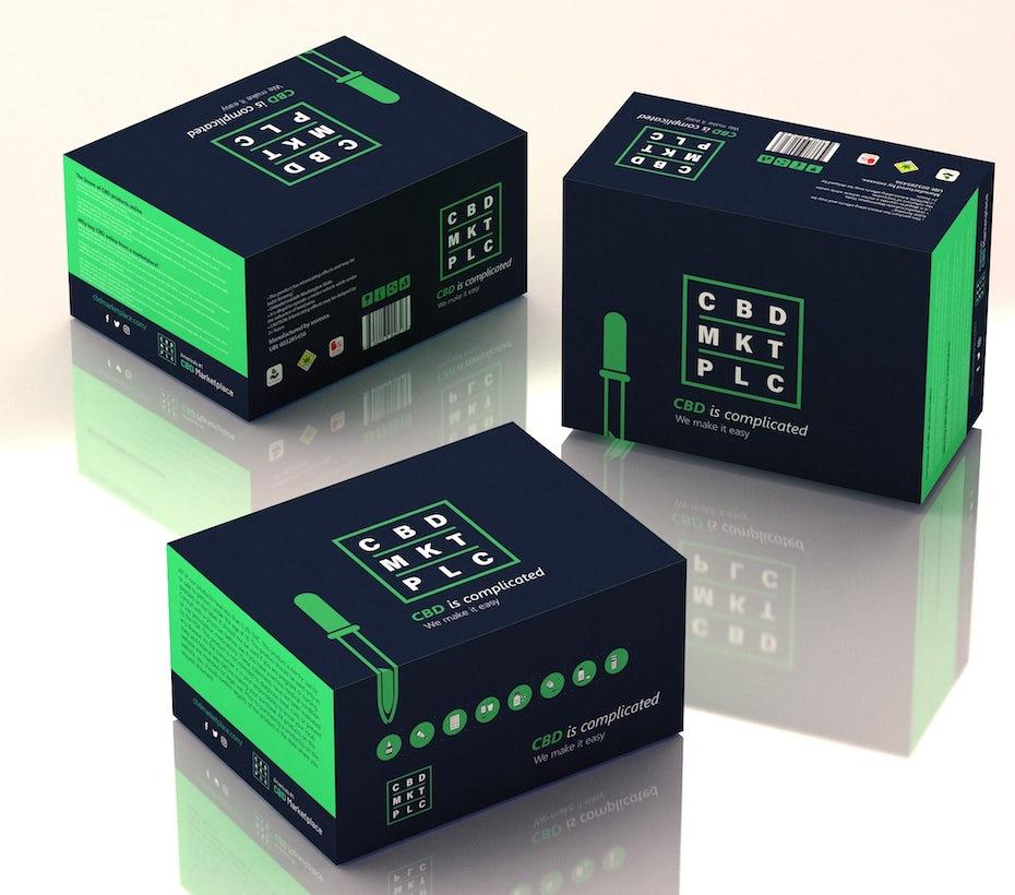 Packaging vert et noir de produits à base de CBD