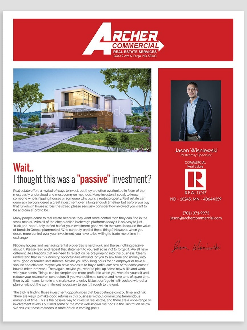 red and white real estate newsletter