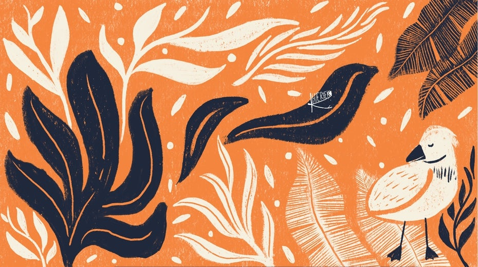 retro illustrated zoom background with handdrawn leaves and bird