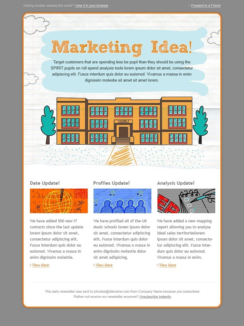 illustration-style newsletter showcasing one big idea and three smaller ones