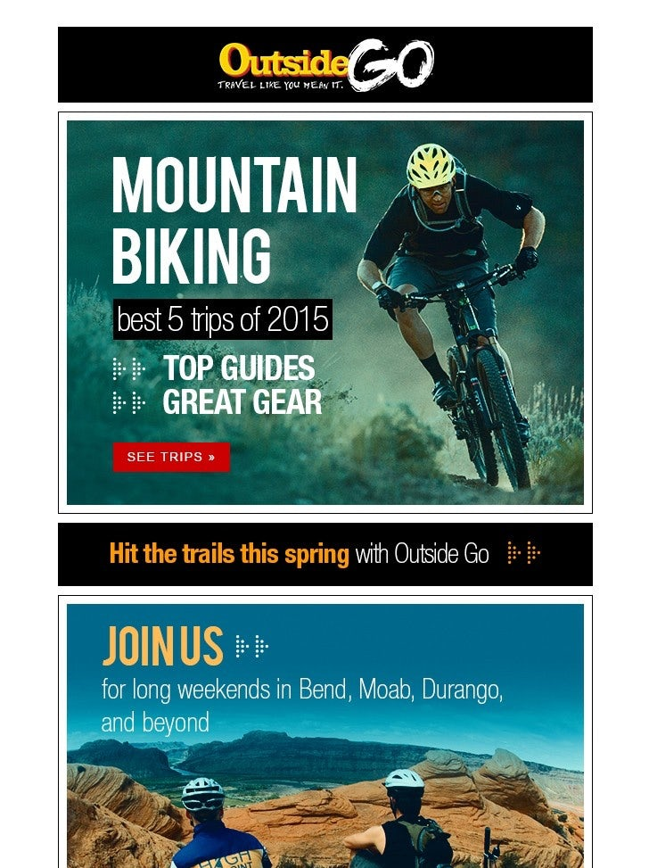 colorful, photo-heavy mountain biking newsletter