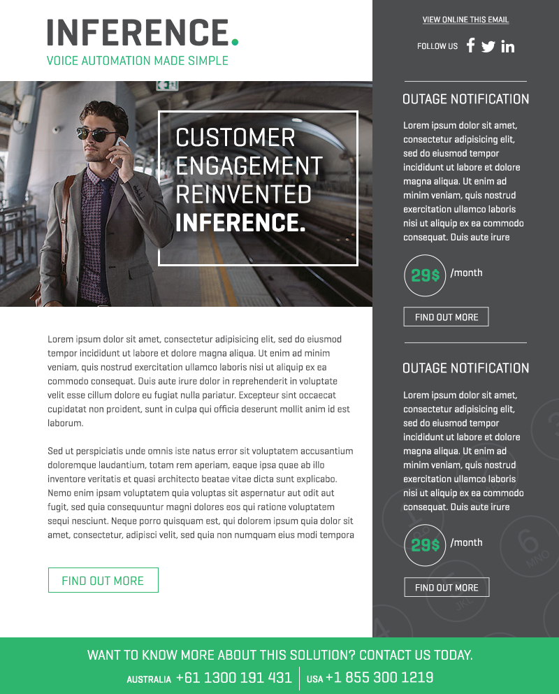 grey and green modern email newsletter design