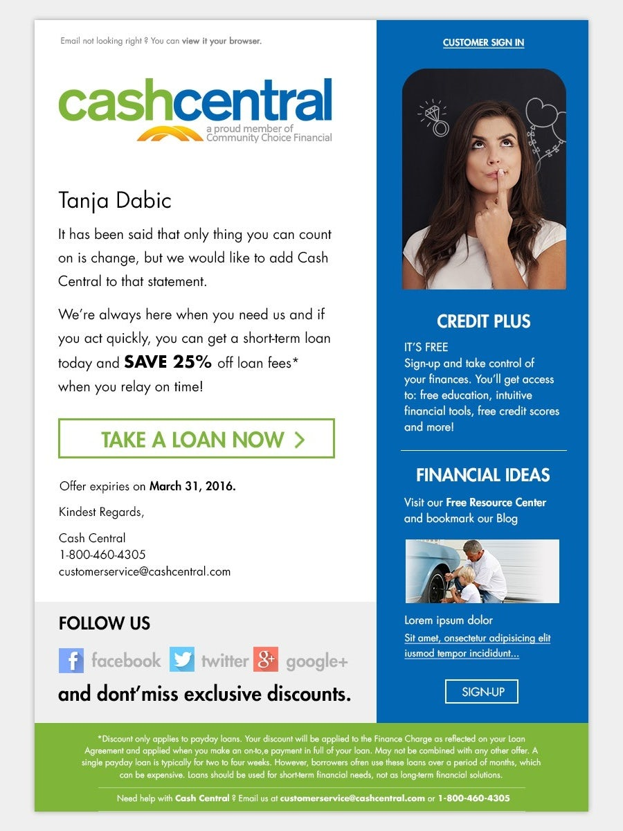 green, blue and white financial promo newsletter